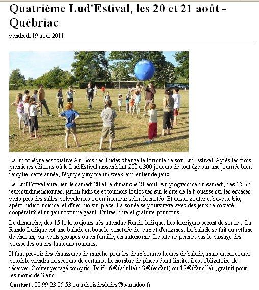Ouest France 19 Août 2011