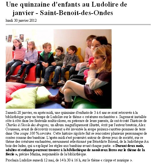 """LudoLire """"Créatures enchantées"""" à St Benoit des Ondes"""