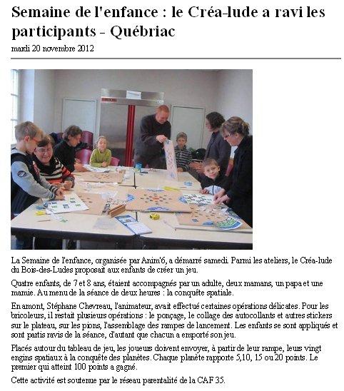 Atelier Créa'Lude novembre 2012