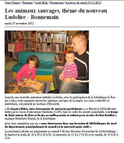 LudoLire Animaux sauvages, 24/11/12 à Bonnemain
