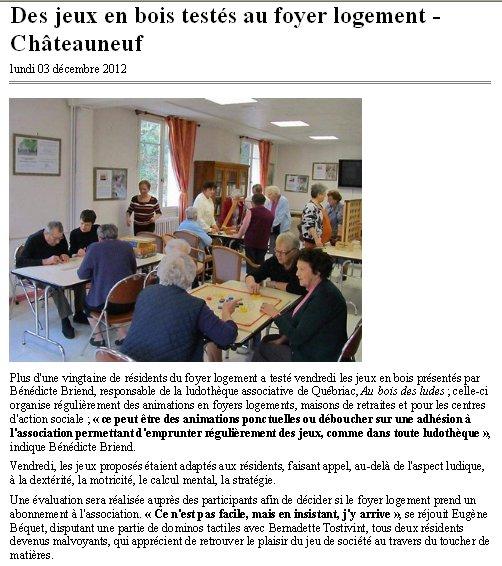 Après-midi récréative au Foyer Logement de Châteauneuf d'Ille et Vilaine