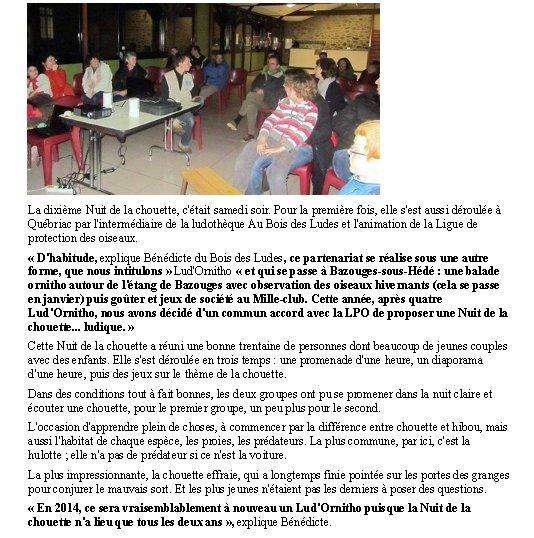 Nuit de la chouette 2013