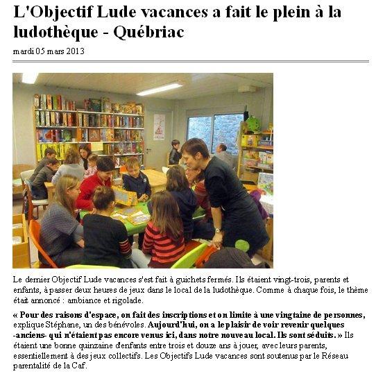 Objectif Lude Vacances Février 2013