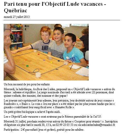 Objectif Lude Vacances Juillet 2013