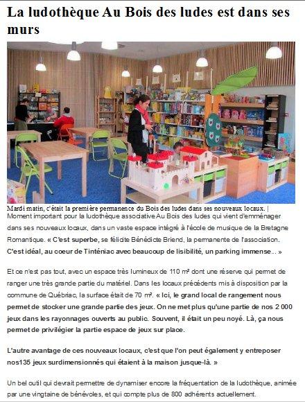 La Ludothèque est dans ses murs / Ouest France