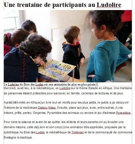 """Ludolire """"Afrique"""" à la médiathèque de Tinténiac"""