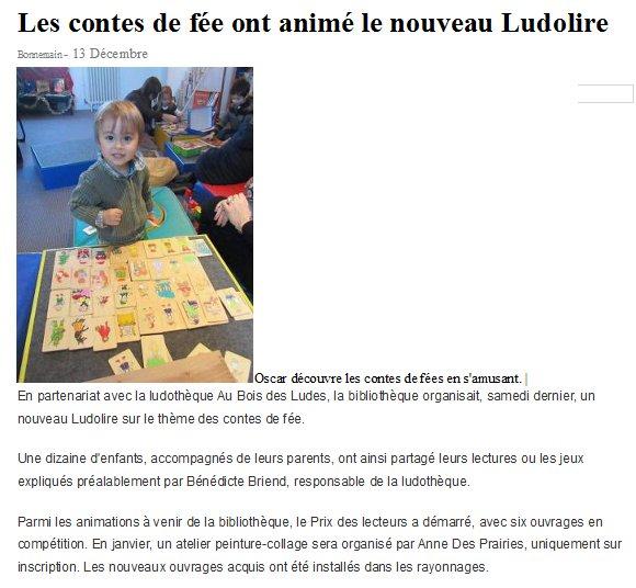 """Ludolire """"Autour des contes"""" à Bonnemain"""