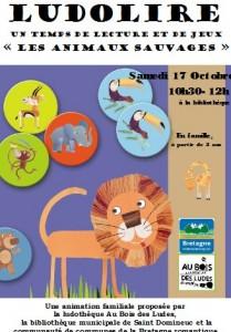 """Ludolire """"Animaux sauvages"""" à la bibliothèque de Saint Domineuc"""