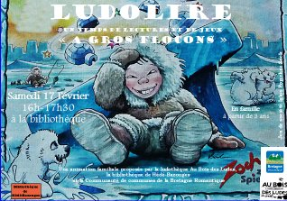 """Ludolire """"A gros flocons"""" à la bibliothèque de Hédé-Bazouges"""