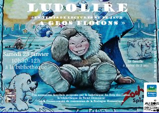 """Ludolire """"A gros flocons"""" à la bibliothèque de Saint Domineuc"""