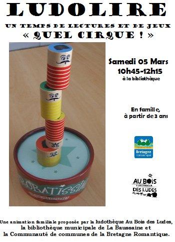 """Ludolire """"Quel cirque !"""" à la bibliothèque de La Baussaine"""