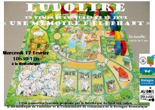 """Ludolire """"Une mémoire d'éléphant"""" à la médiathèque de Tinténiac"""