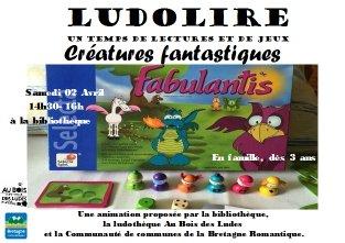 """Ludolire """"Créatures fantastiques"""" à la bibliothèque de Lanhélin"""