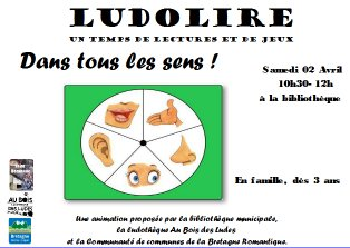 """Ludolire """"Dans tous les sens"""" à la bibliothèque de Saint Domineuc"""