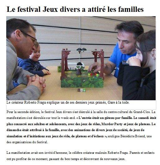 Article Ouest France / Festival des jeux divers