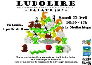 """Ludolire """"Patatras"""" à la médiathèque de Tinténiac"""