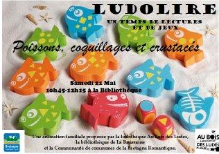 """Ludolire """"Poissons, coquillages et crustacés"""" à la Bibliothèque de La Baussaine"""