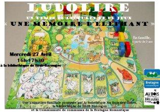 """Ludolire """"Une mémoire d'éléphant"""" à la bibliothèque de Hédé-Bazouges"""