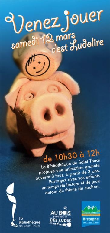 """Ludolire """"comme un cochon"""" à la bibliothèque de Saint Thual"""