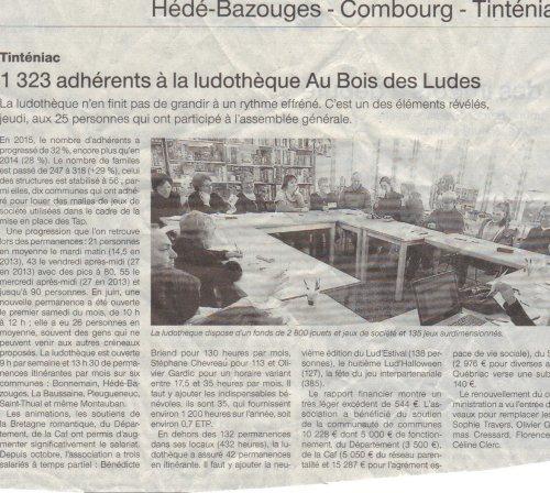 Article Ouest France / Assemblée générale Avril 2016