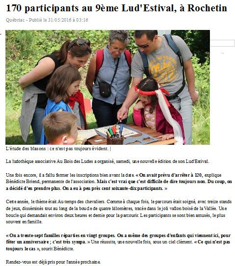Article Ouest France Lud'Estival 2016