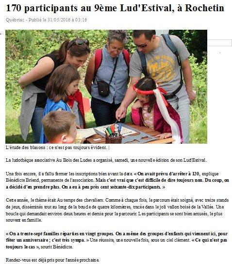 Article Ouest France Lud'Estival 2016