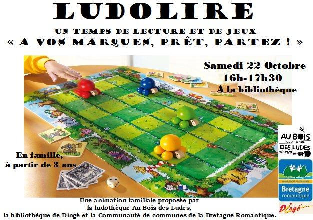 """Ludolire """"A vos marques, prêt, partez !""""  à la bibliothèque de Dingé"""