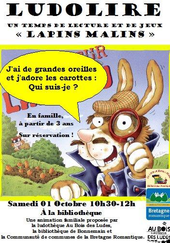 """Ludolire """"Lapins malins"""" à la bibliothèque de Bonnemain"""