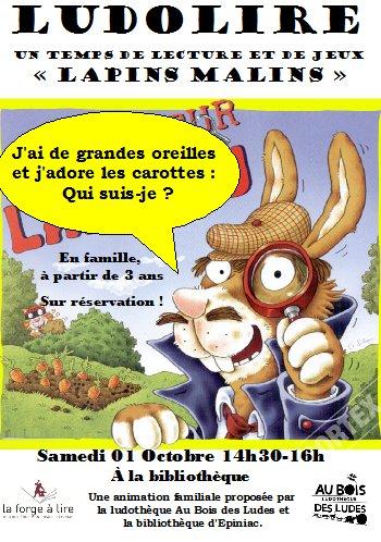 """Ludolire """"Lapins malins"""" à la bibliothèque d'Epiniac"""