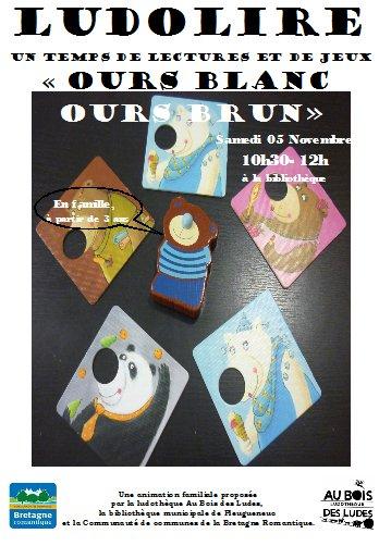 """Ludolire """"Ours blanc Ours brun"""" à la bibliothèque de Pleugueneuc"""