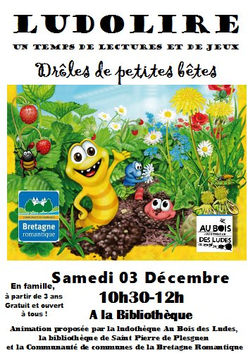 """Ludolire """"Drôles de petites bêtes"""" à la bibliothèque de Saint Pierre de Plesguen"""