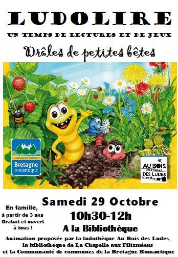 """Ludolire """"Drôles de petites bêtes"""" à la bibliothèque de La Chapelle aux Filtzméens"""