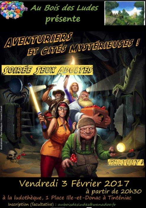 """Soirée jeux ADULTES """"Aventuriers et cités mystérieuses"""""""