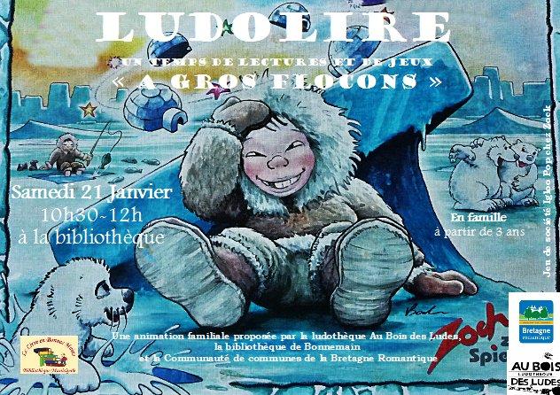 """Ludolire """"A gros flocons"""" à la bibliothèque de Bonnemain"""