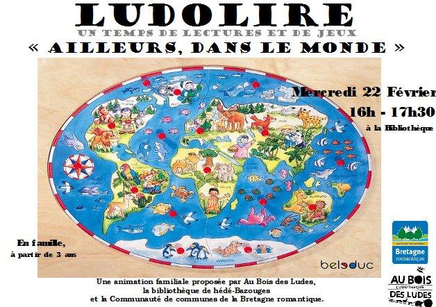 """Ludolire """"Ailleurs dans le monde"""" à la bibliothèque de Hédé-Bazouges"""