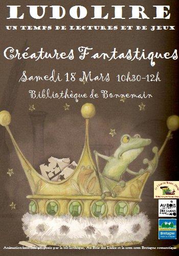 """Ludolire """"Créatures fantastiques"""" à la bibliothèque de Bonnemain"""