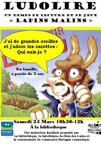 """Ludolire """"Lapins malins"""" à la bibliothèque de Pleugueneuc"""