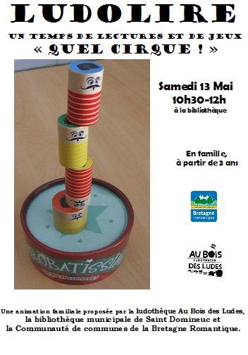 """Ludolire """"Quel cirque !"""" à la bibliothèque de Saint Domineuc"""